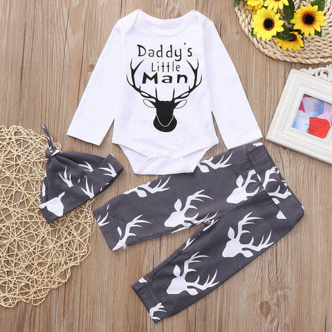 2018 New 3PCS Toddler Baby Girls Boys Letter Print Romper+Deer Head Print Pants+Hat+Romper Set Outfit Baby Clothing set 30 - thefashionique