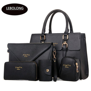 2018 New 5 Bags per Set Women Handbags PU Leather Lady Zipper Messenger Bag Business Hot Sell Girls Bag Solid Big Volume  Bags - thefashionique