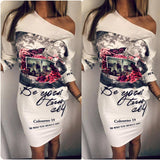 2018 New Arrival Fashion Plus Size Women Clothing, Female Floral Print Party Dresses Sexy Oblique Neck Half Sleeves Dresses - thefashionique