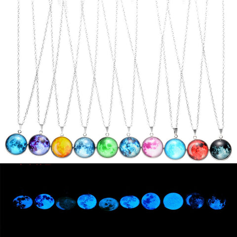 2018 New Arrival Glowing Jewelry Full Moon Necklace Handmade Glass Dome Lunar Eclipse Necklace Glow in the dark Pendant Jewelry - thefashionique