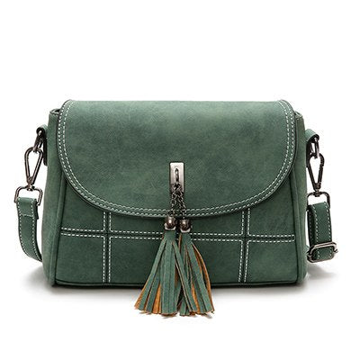 2018 New Arrival Women Bags Fashion Tassel Women Crossbody Bags High Quality Soft PU Leather Female Handbags Plaid Ladies Bags - thefashionique