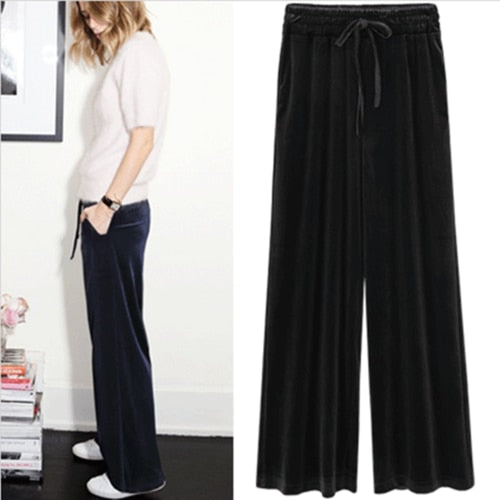2018 New Autumn Winter Pants Women Plus Size 4xl  Velvet Pants Vintage Trousers Women Harem High Waist Loose Wide Leg Pant - thefashionique