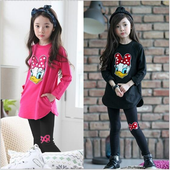 2018 New Baby Girls Clothing Sets Autumn Costume for Girls Clothes Donald Duck Clothing Long Sleeve Children Clothing for Girls - thefashionique