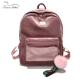 2018 New Backpack Best Velve Ribbon Backpack Female Fashion Girl Travel Bag Hairball Women Backpack Rucksack Bagpack Mochila - thefashionique