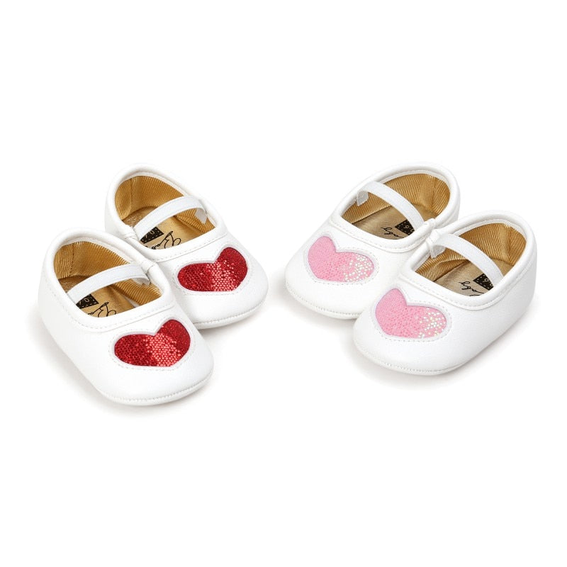 2018 New Born Baby Girls Soft Soled Shoes Princess LOVE First Walkers Infant Toddler Baby Shoes New - thefashionique