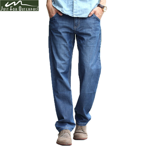 2018 New Brand Jeans Men Summer Pure Cotton  Big Loose Thin Jeans Casual Straight Breathable Soft High Quality Pants Plus Size
