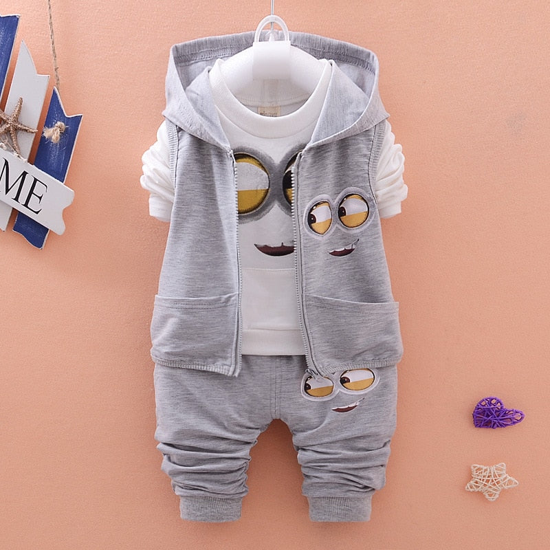 2018 New Children Kids Boys Clothing Set Autumn Winter 3 Piece Sets Hooded Coat Suits Fall Cotton Baby Boys Clothes - thefashionique