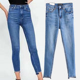 2018 New Dover Blue High Waist Skinny Jeans Washed Blue Slim Pencil Denim Trousers 3175/243 - thefashionique