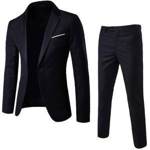 2018 New Fashion Business and Leisure Suit A Two-piece Suit The Groom's Best Men Wedding Groom Korean Slim Fit Dress(Tops+Pants) - thefashionique