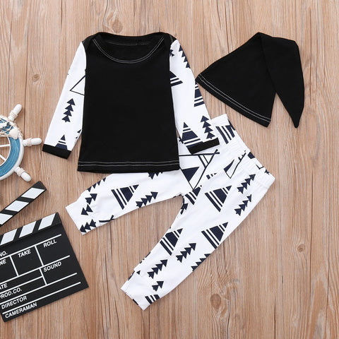 2018 New Fashion Casual O-Neck Newborn Baby Boys Girls Geometric Print Tops+Pants+Hat Casual Set Clothes Baby Clothing set 30 - thefashionique