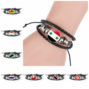 2018 New Fashion Handmade Syria Flag Bangle Bracelet For Men And Women Glass Cabochon Leather Bracelet Jewelry Gift - thefashionique