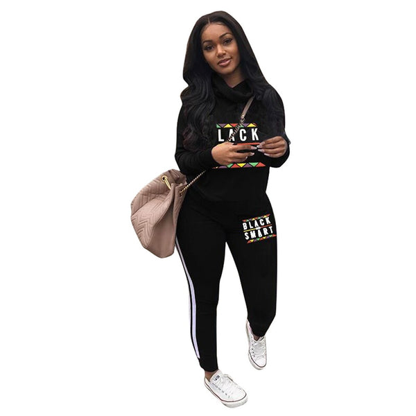 2018 New Fashion Women's Sets Letter Print Two Piece Sweatsuit Cowl Neck Sweatshirt and Skinny Long Pants - thefashionique