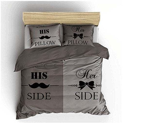 2018 New Gray Bedding Set His And Her Side Home Textiles Soft Duvet Co