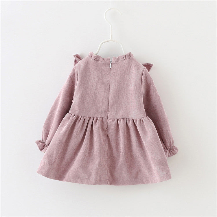 2018 New Limited Solid Cute Baby Girl Dress Vestido Infantil Baby Dress Autumn Girls 0-3 Years Old Korean Long-sleeved Princess - thefashionique