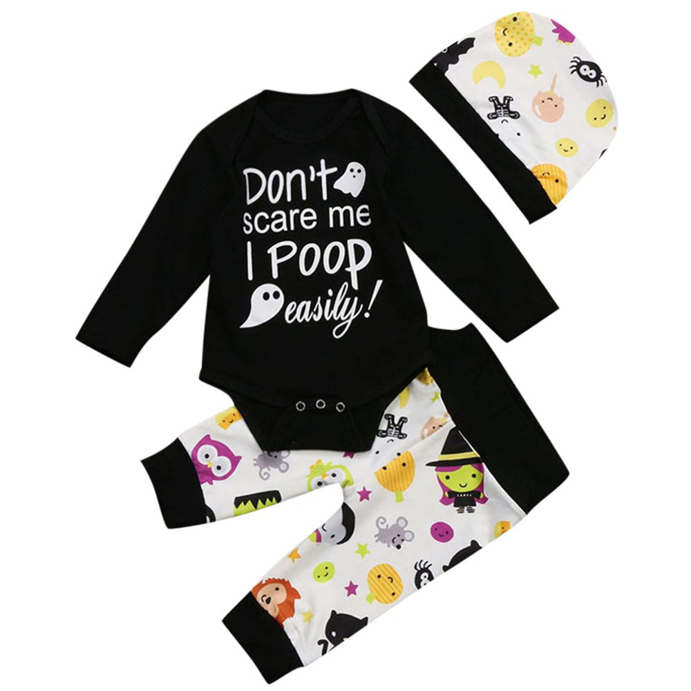 2018 New Newborn Baby 3PCS Halloween Kids Baby Letter Print Romper+Cartoon Print Pants+Hat Set Outfit Baby Clothing set 30 - thefashionique