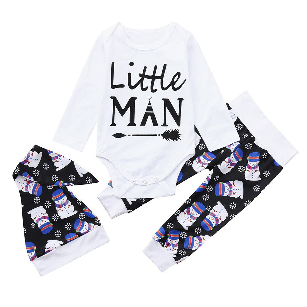2018 New Newborn Baby Boy Girls Fashion Christmas Snowman Letter Arrow O-Neck Tops+Pants+Hat Set Clothes Baby Clothing set 30 - thefashionique