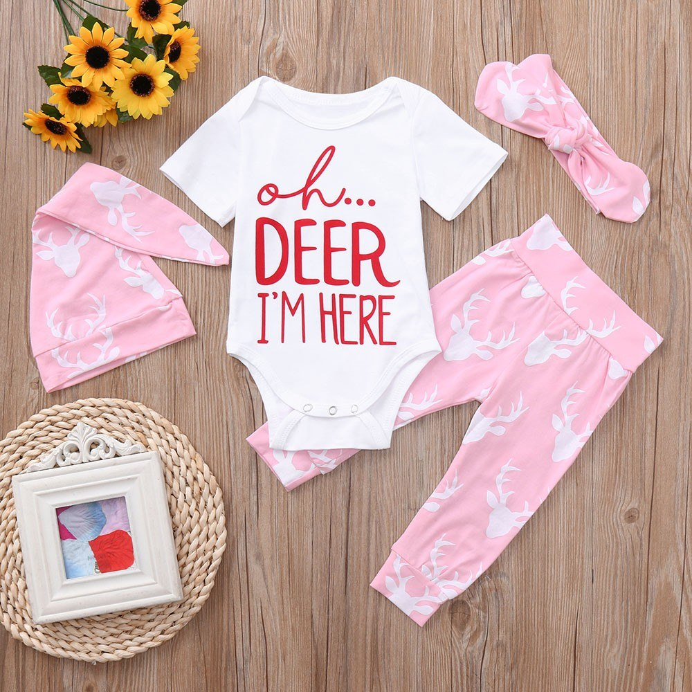 a570ecfb6 2018 New Newborn Baby Boys Cute Christmas Deer Letter O-Neck Cotton  Romper+Pants+Hat+Headband Set Clothes Baby Clothing set 30