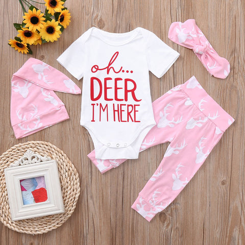 2018 New Newborn Baby Boys Cute Christmas Deer Letter O-Neck Cotton Romper+Pants+Hat+Headband Set Clothes Baby Clothing set 30