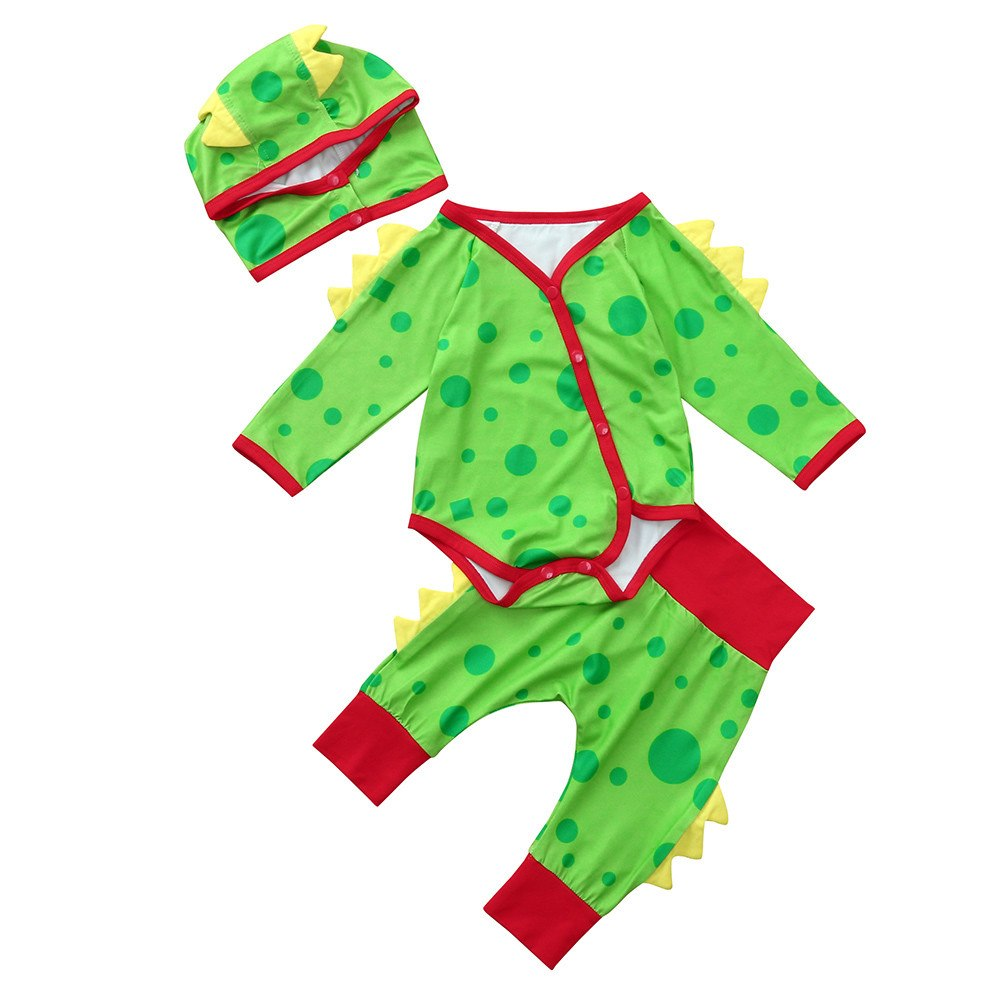 2018 New Newborn Baby Boys Girls Dinosaur Rompe Jumpsuit +Pants+Hat Outfits Set Clothes Baby Clothing set 30 - thefashionique