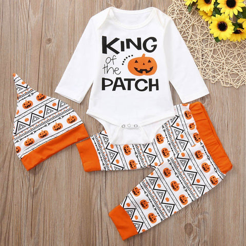 2018 New Newborn Baby Boys Girls Halloween Letter Pumpkin Romper Jumpsuit+Pants+Hat Set Clothes Baby Clothing set 30