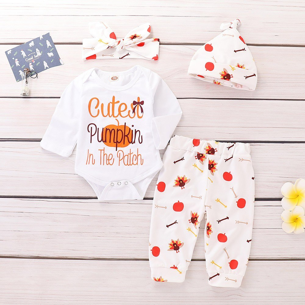 2018 New Newborn Baby Girls Boys Halloween Letter Romper Jumpsuit+Pants+Hat+Headband Set Clothes Baby Clothing set 30 - thefashionique