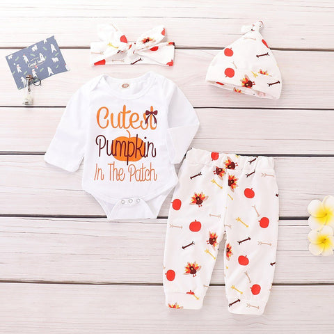 2018 New Newborn Baby Girls Boys Halloween Letter Romper Jumpsuit+Pants+Hat+Headband Set Clothes Baby Clothing set 30