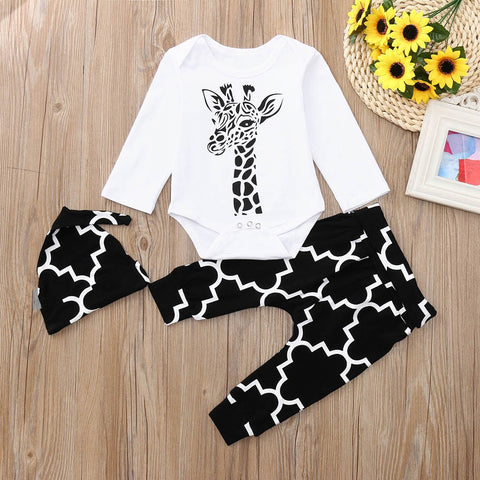 2018 New Newborn Baby Letter Printed Long Sleeves Romper+Pants+Hat Kids Clothes Outfits Sets Baby Clothing set Cap 30
