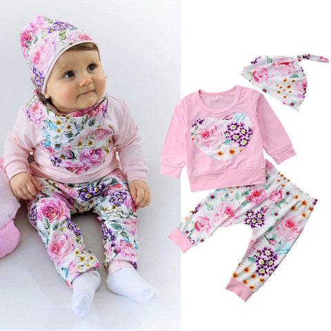 2018 New Newborn Infant Baby Girl Boys Clothes set Cute Floral T shirt Tops+ Pants Hat 3PCS Outfits Set Baby Clothing set 30