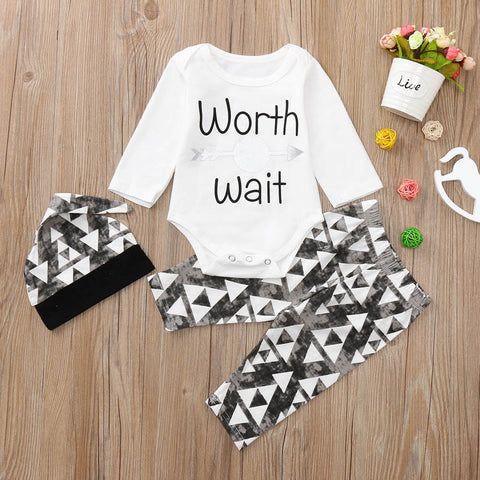 2018 New Newborn fashion design Infant Baby Boy Letter Romper Tops Long Pants Hat Outfits Set Clothes Baby Clothing set 30 - thefashionique
