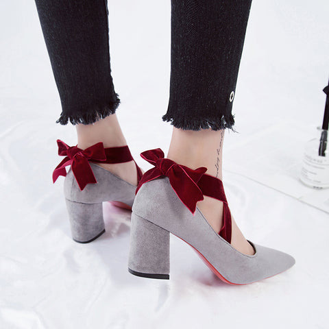 2018 New Spring Women Pumps 7.5cm High Heels Leisure Pants Shoes Woman  Europe Style Office f42eea1f959e