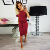 2018 New Summer Women Dress Knee-Length Sexy Bandage Bodycon Dress Short Sleeve Casual Dresses Sun Dress Femme - thefashionique