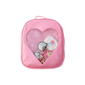 2018 New Sweet Cute Women Lady Backpack Transparent Heart Shape PU Fashion For Travel Mobile Phone WML99 - thefashionique