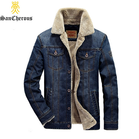 2018 New Warm Men Casual Jean Denim Jacket Outerwear Thick Windproof Autumn Winter Denim Thicken Fleece Jacket Coat