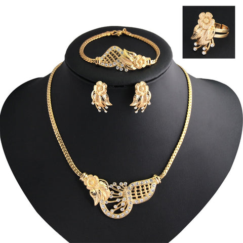 2018 New Women Fashion Jewelry Sets Gold Collar flowers Necklaces Earrings Bracelet adjustable ring Jewelry Sets & More Party - thefashionique