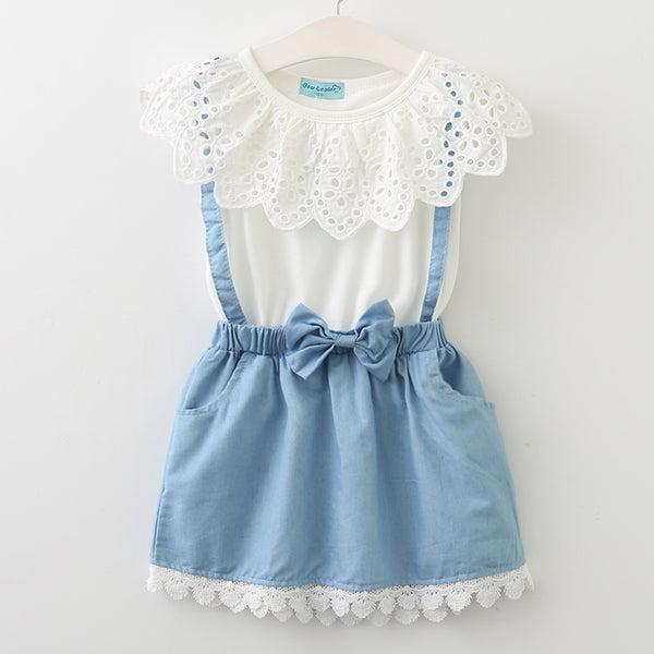 2018 New girls cute dress,white princess belt lace dress sleeveless cotton summer dress lovely baby girls clothes 3-7 Years - thefashionique