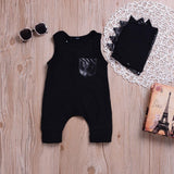 2018 Newborn Baby Boys Girls Cute Solid Dinosaur Romper Jumpsuit+Hat Set Outfits O-Neck Sleeveless Clothes Baby Clothing set 30 - thefashionique