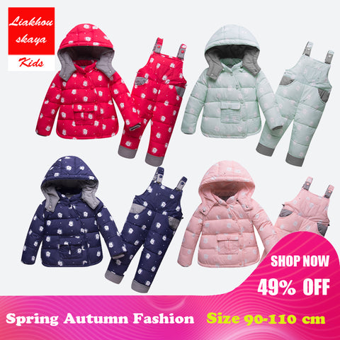 2018 Newborn Infant Snow Suit Girls Children Clothing Set Warm Winter Down Jacket Parka Hooded Kids Clothes Outwear Cartoon Coat