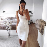 2018 Newest Summer Bandage Dress Women Celebrity Party Spaghetti Strap V-Neck Runway Sexy Dress Women Bodycon Vestidos Wholesale - thefashionique