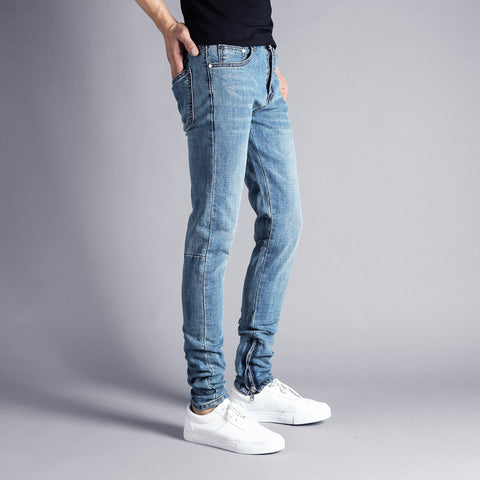 2018 Newly High Street Fashion Men's Jeans Blue Color Elastic Hip Hop Jeans Punk Pants Ankle Zipper Brand Skinny Jeans Men