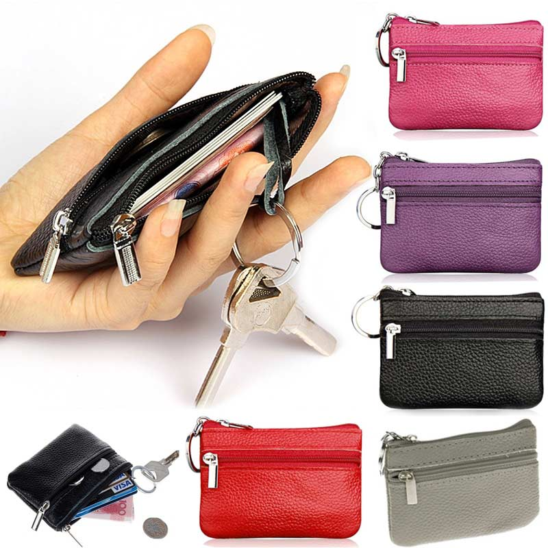 66a1cf7d Clothing, Shoes & Accessories Men's Accessories Leather Black Simple Money Bags  Pocket Wallets Key Holder Mini Pouch Coin Purses