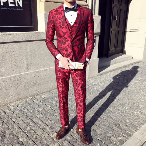 2018 Red Flowers Print Suits Mens Wedding Dress Suits Terno Masculino Slim Fit Stage Costumes Smocking Traje Hombre Formal Club