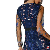 2018 Sexy Floral Embroidery Sheer Mesh Dress for Women Summer Boho Mini Dresses party Ladies Fashion See Through Vestidos Female