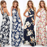 2018 Sexy Women Maxi Boho Dress Halter Neck Floral Print Sleeveless Summer Dress Holiday Long Beach Dress Vestidos Party Dresses - thefashionique