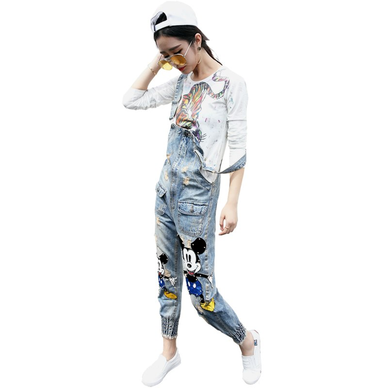 2018 Sleeveless Bodysuit Pockets Womens Jumpsuit Denim Overalls Women New Casual Strap Hole Ripped Jeans Sexy Bodycon XL - thefashionique