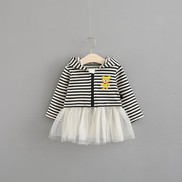 2018 Special Offer Cotton Cute Vestido Infantil Baby Dress Girls Autumn New Hooded Dress 0-3 Years Old Baby Princess Striped - thefashionique