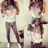 2018 Spring Female Sporting Suits Ladies Slim 2 Pieces Sets Women Patchwork Hooded Pullover Tops and Long Pants Tracksuit - thefashionique