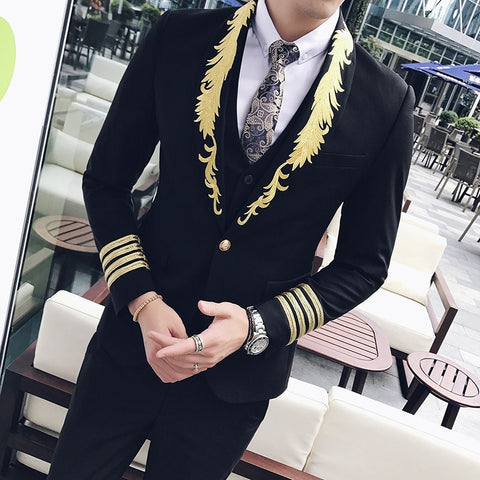 2018 Suits Mens Baroque Gold and Black Suits Mens Striped Suits Slim Fit Luxury Terno Masculino Mens Wedding Dresses Social Club