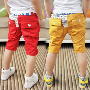 2018 Summer Casual 3-12T Years Handsome Children'S Birthday Letter Patchwork Cotton Kids Teenage Boy Knee-Length Pants Capris