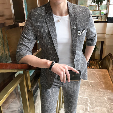 2018 Summer Dress Plaid Mens Suits With Pants Grey Men Suit Slim Fit Terno Checkered 2 pieces Men Costume Homme Social Club