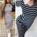 2018 Summer Fashion Stripe Summer Dress Women Long Maxi BOHO Sundress Slim Beach Cotton Loose Casual Dresses - thefashionique